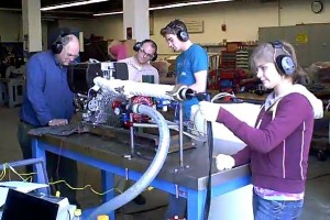 Testing of EHF conducted at the Maine Maritime Academy. Left to Right: Professor Richard Kimball, Scott Eaton, Mitch Kuflik, Kira Pilot.